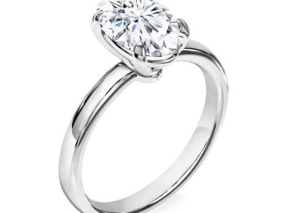טבעת אירוסין זהב לבן אובל