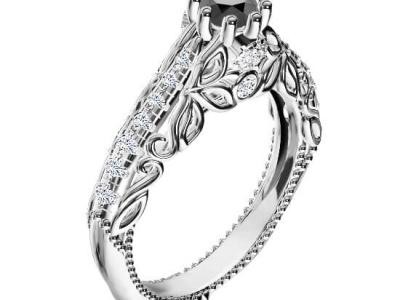 טבעת יהלום שחור בעיצוב וינטג