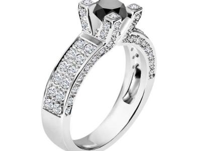 טבעת יהלום שחור יוקרתית