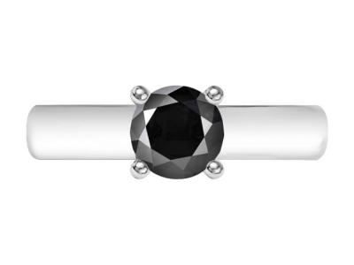 טבעת סוליטר יהלום שחור