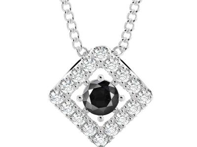 תליון יהלומים מעוצב עם יהלום שחור מרכזי