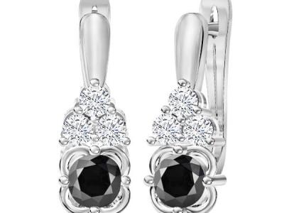 עגילי יהלומים מעוצבים יהלום שחור