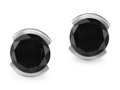 עגילים צמודים יהלום שחור