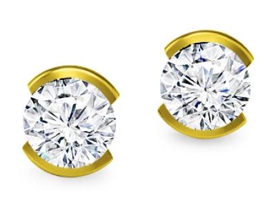 עגילי יהלום צמודים זהב צהוב