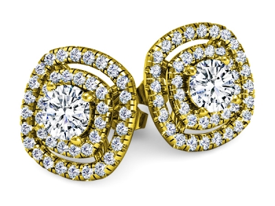 עגילי יהלום זהב צהוב 2 שורות יהלומים מסביב ליהלום מרכזי גדול