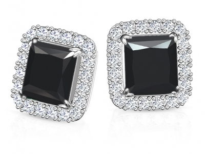 עגילים יהלומים שחורים