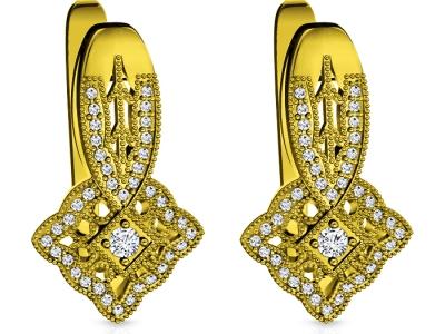 עגילי יהלומים אבן חן מרכזית