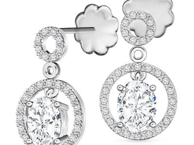 עגילי יהלומים יהלום מרכזי שסביביו יהלומים