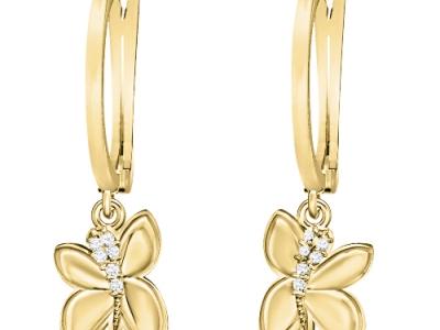 עגילים זהב ויהלומים בעיצוב פרפר