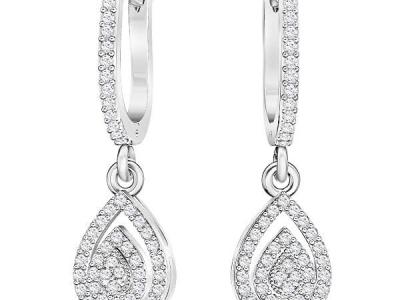 עגיל יהלומים תלוי בעיצוב טיפה