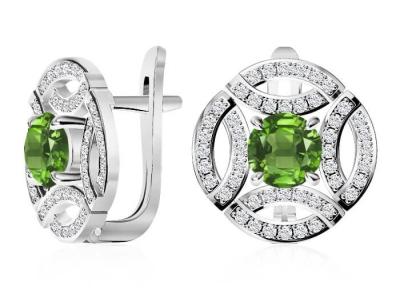 עגיל יהלומים צמודים עם אבני חן