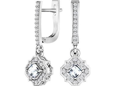 עגילי יהלומים לאישה בעיצוב וינטג'