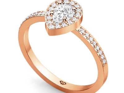 טבעת זהב יהלום טיפה