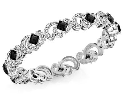 יהלומים שחורים בצמיד  זהב