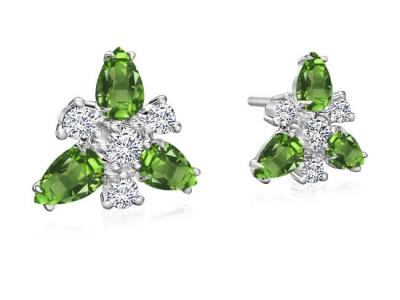עגילי יהלומים ואבני חן צמודים