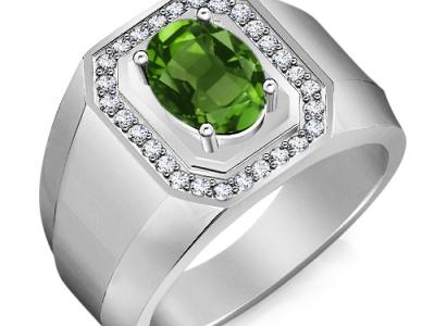 אבן ברקת אמרלד גדולה בטבעת יוקרתית, טבעות לגברים