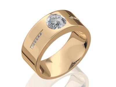 טבעת לגברים בעיצוב גברי עם יהלום גדול מעל ל 1 קארט