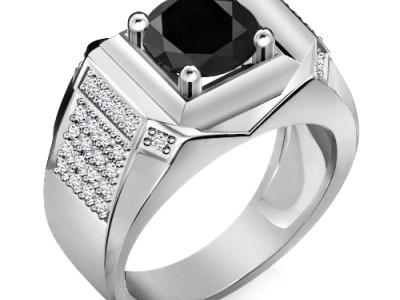 טבעת יהלום שחור לגבר