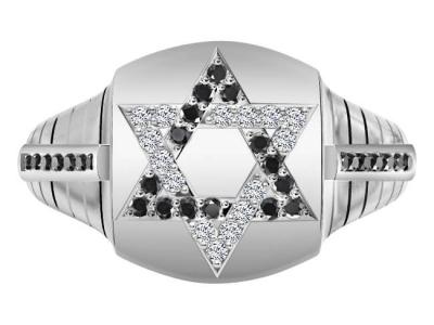 טבעת יהלומים לבנים ושחורים לגבר