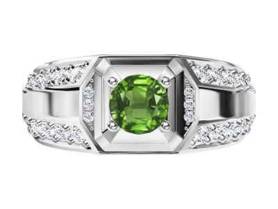 טבעת אבן חן ויהלומים לגבר