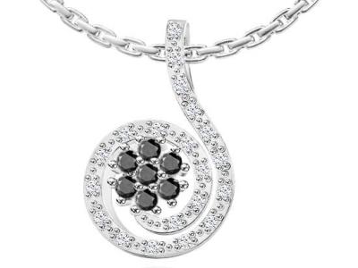 תליון יהלומים שחורים לאישה