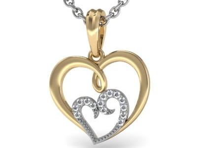 תליון לבבות מחוברים תליון זהב ויהלומים