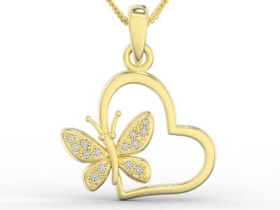 תליון פרפר יהלומים בתוך לב