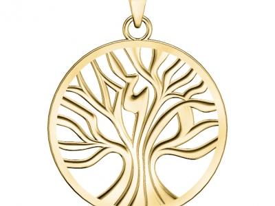 תליון זהב בעיצוב עץ