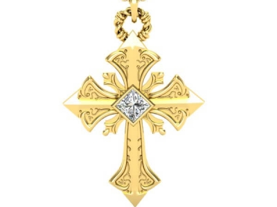 תליון צלב מעוצב Gold Cross Pendant