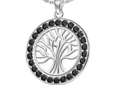 תליון עץ החיים משובץ יהלומים שחורים