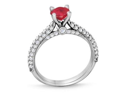 טבעת זהב לבן טבעת אבן חן רובי