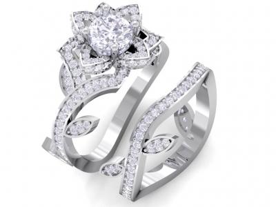 טבעת יהלומים בצורת פרח