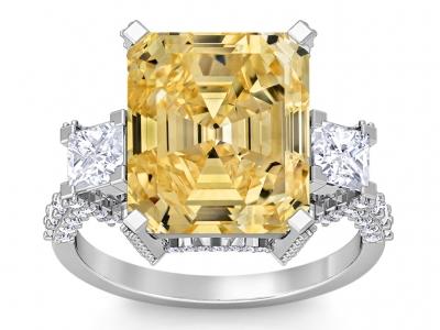 טבעת זהב ויהלומים גדולה טבעת אבן חן גדולה צהובה אבן חן ציטרין סיטרין