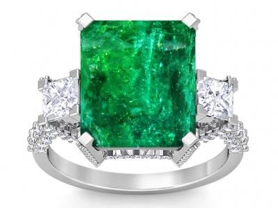 טבעת זהב ויהלומים גדולה טבעת אבן חן גדולה אמרלד ברקת  אבן חן ירוקה אִזמרגד