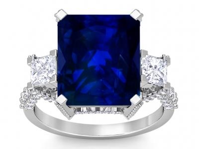 טבעת זהב ויהלומים גדולה טבעת אבן חן גדולה כחולה אבן חן ספיר