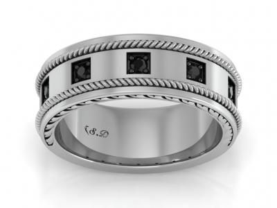 טבעת זהב לגבר יהלומים שחורים