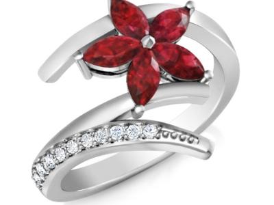 טבעת זהב לבן טבעת פרח אבן חן רובי