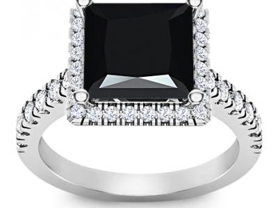 טבעת זהב יהלום שחור מרובע גדול