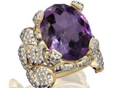 טבעת אבן חן ויהלומים גדולה