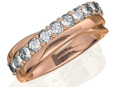 טבעת יהלומים שורה אחת