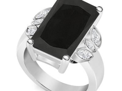 טבעת יהלום שחור גדול