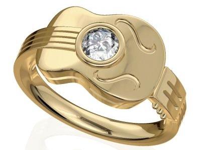טבעת זהב בעיצוב גיטרה