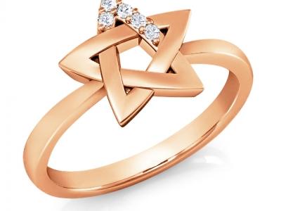 טבעת מגן דוד מזהב ויהלומים