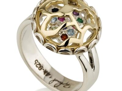 טבעת אבני חן צבעוניות