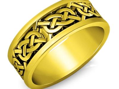 טבעת זהב צהוב לגבר