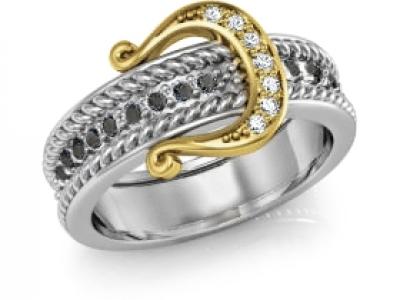 טבעת זהב ויהלומים בצורת חגורה