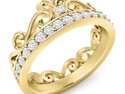 טבעת זהב ויהלומים כתר