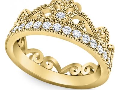 טבעת יהלומים כתר