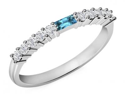 טבעת נישואין משובצת יהלומים ואבני חן