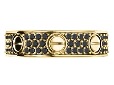 טבעת נישואין משובצת יהלומים שחורים